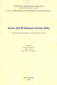 Actes del III Simposi Carles Riba
