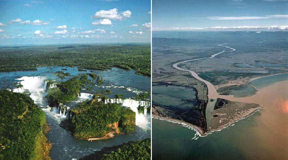 Iguazu (Argentina) and Ebro Delta (Catalonia, Spain)