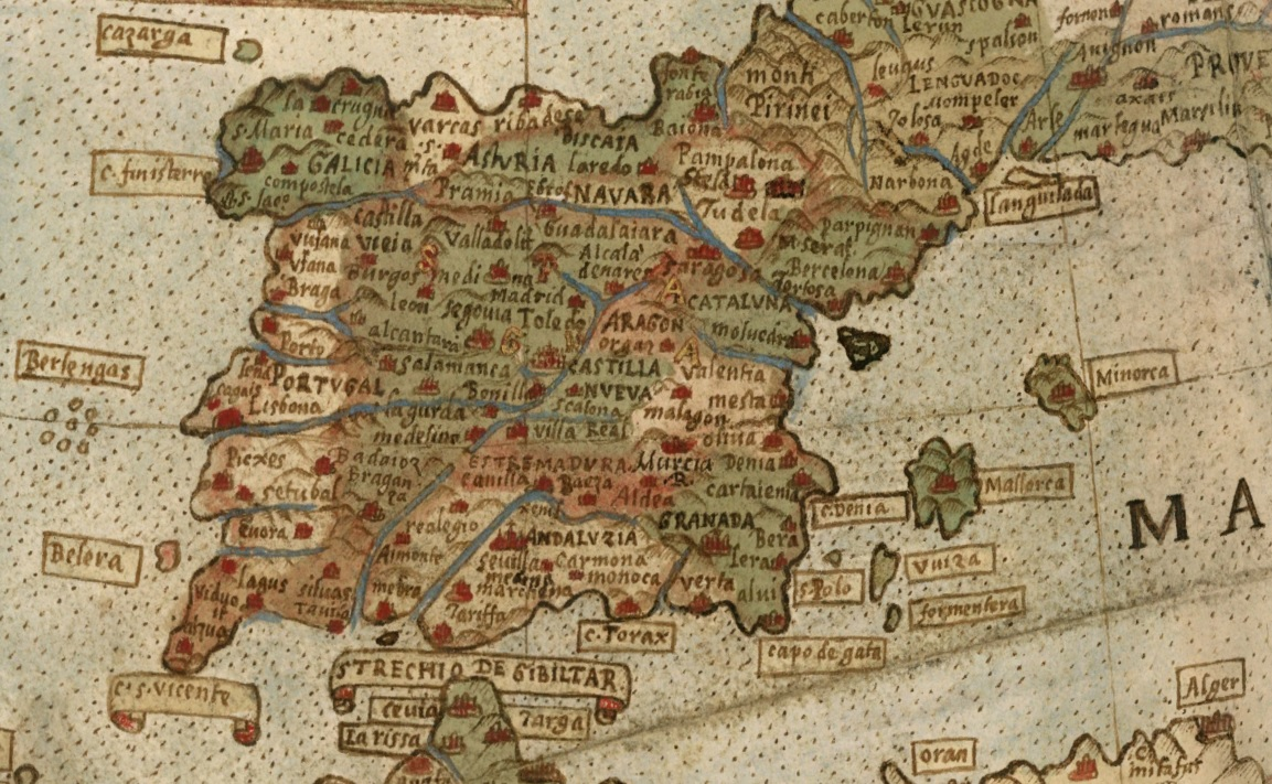 1587 World Map.The Monte Map Of Xvi Century Over The Virtual Globus