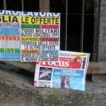 Brindisi: job advertisements in the nearby of a newsstand. Unemployment rate in the province has reached 18.3 % in 2014.