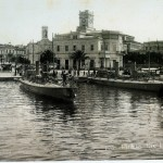 The port of Piraeus with the famous clock tower at the beginning of the 20th century