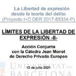 12/07/2021 – «La Libertad de expresión desde la teoría del delito. Límites de la libertad de expresión».