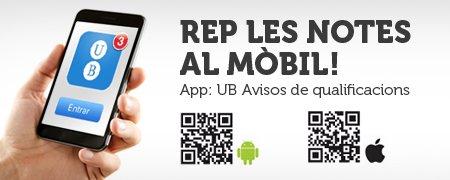 App UB Avisos qualificacions