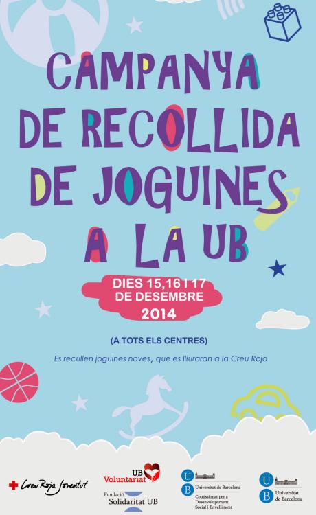 Cartell de la campanya de recollida joguines a la UB.
