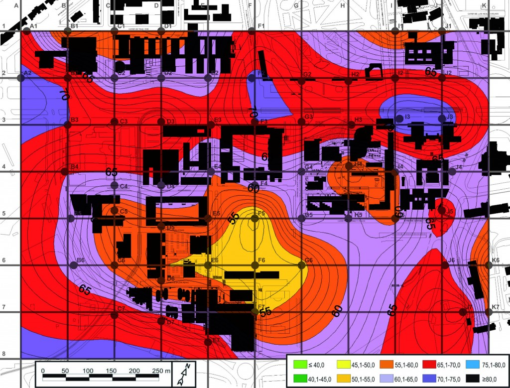 Mapa soroll Campus Diagonal 2014. Leq dia