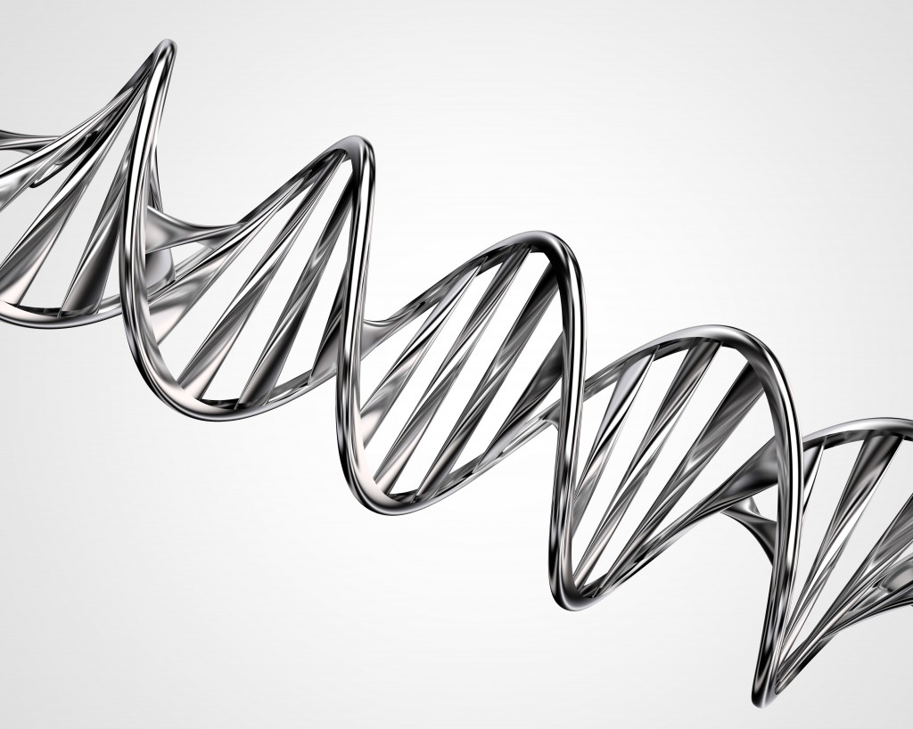 3D model of twisted chrome metal DNA chain