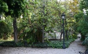 Vista del jardín, zona de Diputació e invernadero