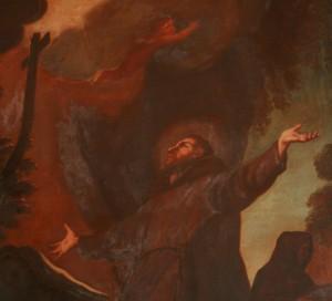 Sant Francesc rebent els estigmes, detall