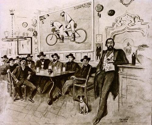 Il·lustració de R.Opisso que escenifica una tertúlia a la taverna dels 4 gats. S'hi representen, entre d'altres, Isidre Nonell, Santiago Rusiñol, Ramón Casas i Picasso