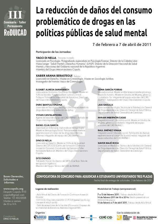 """<!–:ca–>CONCURS PER A ADJUDICAR TRES PLACES DEL SEMINARI-TALLER:  """"La reducció de danys del consum problemàtic de drogues a les polítiques públiques de salut mental""""<!–:–><!–:es–>CONCURSO PARA ADJUDICAR TRES PLAZAS DEL SEMINARIO-TALLER: """"La reducción de daños del consumo problemático de drogas en las políticas públicas de salud mental""""<!–:–>"""