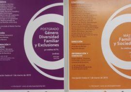 """3ª edición del """"Máster en Familias y Sociedad"""" y del Diploma de Especialización de Postgrado vinculado a """"Género, Diversidad Familiar y Exclusiones"""""""