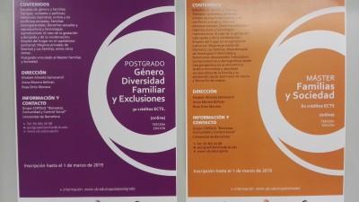 """3ª edició del """"Màster en Famílies i Societat"""" i del Diploma d'Especialització de Postgrau vinculat a """"Gènere, Diversitat Familiar i Exclusions"""""""