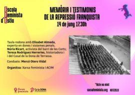 Elisabet Almeda en la IX Escuela Feminista de Verano sobre Memoria y Testigos de la Represión franquista