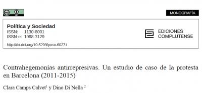 Nova publicació: Contrahegemonías antirrepresivas. Un estudio de caso de la protesta