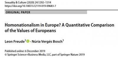Nueva Publicación: Homonationalism in Europe? A Quantitative Comparison of the Values of Europeans