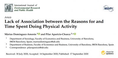 Nueva publicación de Màrius Domínguez Amorós sobre la falta de asociación entre motivaciones para hacer actividad física y tiempo dedicado a ella.