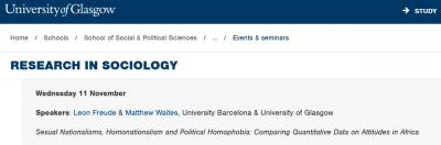"Seminario ""Sexual Nationalisms, Homonationalism and Political Homophobia: Comparing Quantitative Data on Attitudes in Africa"" en la Universidad de Glasgow"