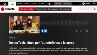 POPUP de Catalunya Ràdio especial March 8 with donestech: TOOLS FOR FEMINIST SELF-DEFENSE ON THE NET