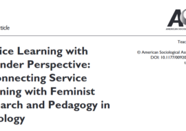 COPOLIS membres publish on Service Learning and Gender