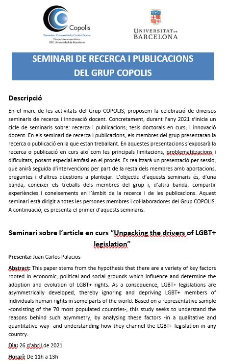 Primer seminario de investigación y publicaciones del grupo COPOLIS