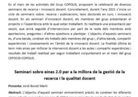 Primer seminario de Innovación Docente del Grupo de COPOLIS y del Grupo CEFOCID-COPOLIS