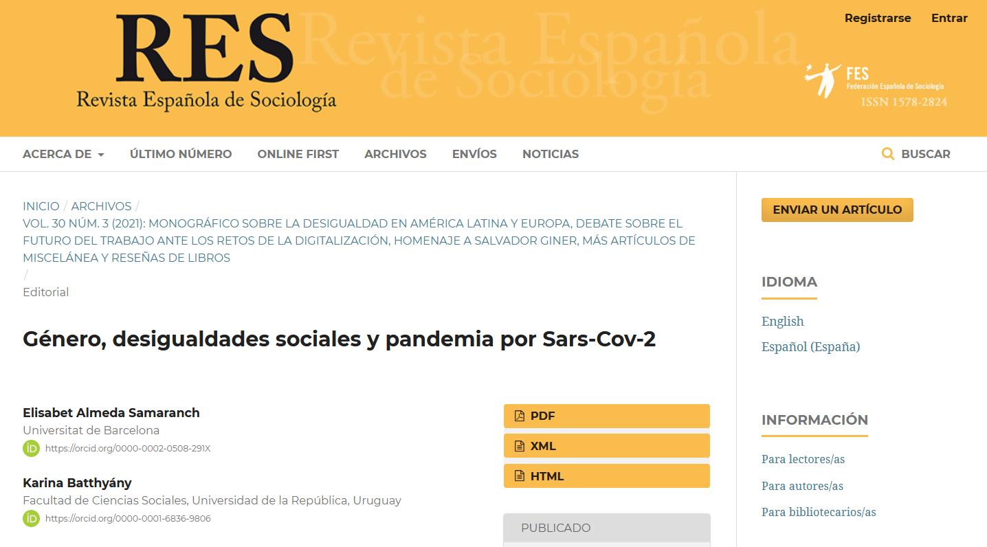 Recomendación de artículo: Género, desigualdades sociales y pandemia por Sars-Cov-2