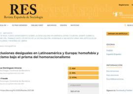"""Recomanació d'article: """"Inclusiones desiguales en Latinoamérica y Europa: homofobia y racismo bajo el prisma del homonacionalismo"""""""