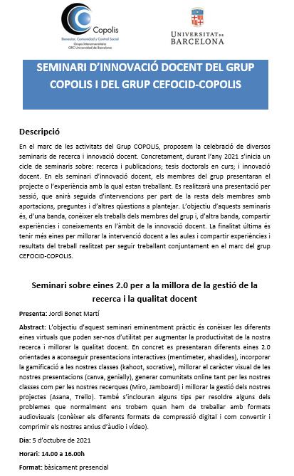 Seminario de innovación docente del grupo COPOLIS y del grupo CEFOCID-COPOLIS