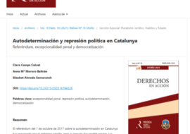 New publication: Self-determination and political repression in Catalunya. Referendum, criminal exceptionality and democratization