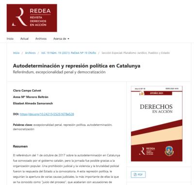 Nueva publicación: Autodeterminación y represión política en Catalunya. Referéndum, excepcionalidad penal y democratización