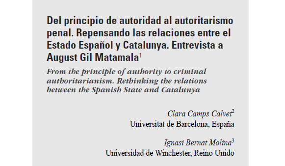 New publication of COPOLIS membres Clara Camps i Ignasi Bernat: From the principle of authority to criminal authoritarianism. Rethinking the relations between the Spanish State and Catalunya