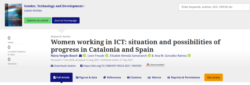 """New publication """"Women working in ICT: situation and possibilities of progress in Catalonia and Spain"""""""