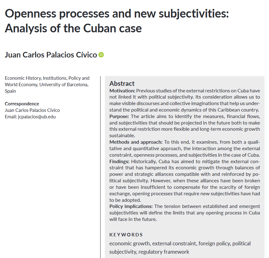 """Juan Carlos Palacios Cívico's new publication: """"Openness processes and new subjectivities: Analysis of the Cuban case"""""""