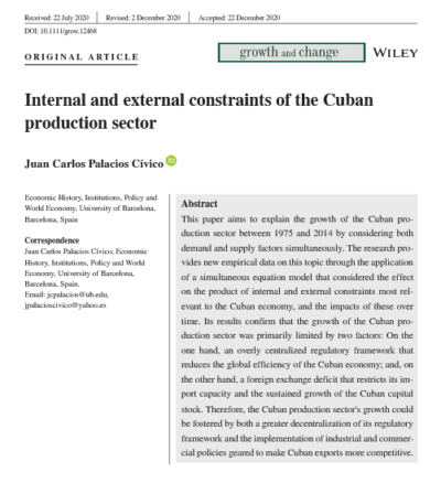 New publication: Internal and external constraints of the Cuban production sector