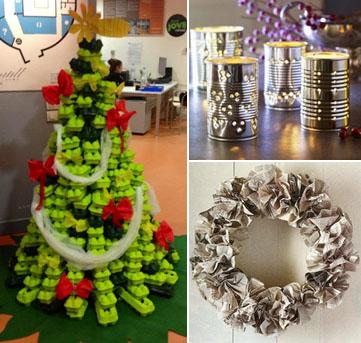 Exemple d'arbre de Nadal fet amb oueres de cartró i de manualitats d'ornaments nadalencs.