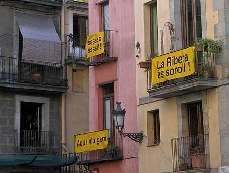 Protestes dels veïns del Barri de La Ribera de Barcelona contra el soroll