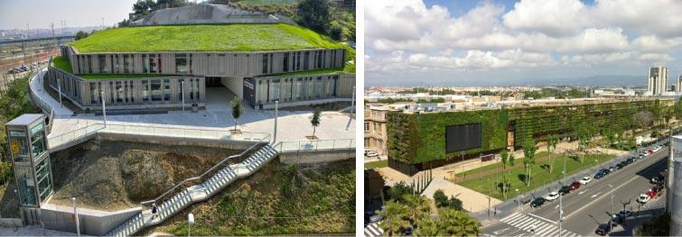 Coberta verda de la Biblioteca Zona Nord de Barcelona. Font: Mapa Barcelona+Sostenible(imatge esquerra). Jardí Vertical de l'edifici de la Tabacalera de Tarragona. Font: Ajuntament de Tarragona (imatge dreta).