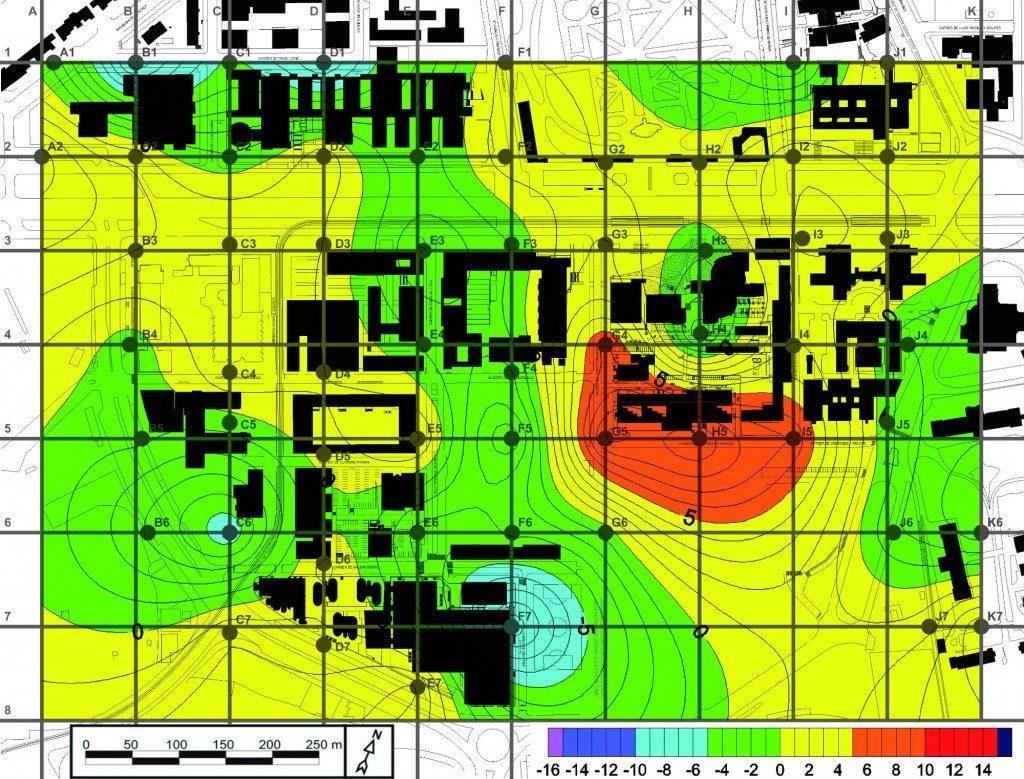 Diferència de nivell de soroll equivalent al Campus de la Diagonal, en dB(A), entre les 8 i les 20h (Leq – Dia) respecte el mapa sonor de l'any 2005