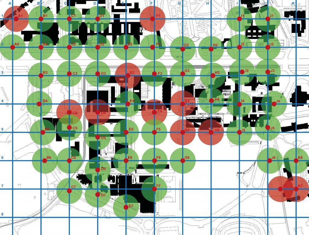 Àrea d'influència dels punts de mesura segons el compliment (verd) o incompliment (vermell) dels valors guia d'immissió al Campus de la Diagonal (Ordenança de Medi Ambient de Barcelona, 2011)