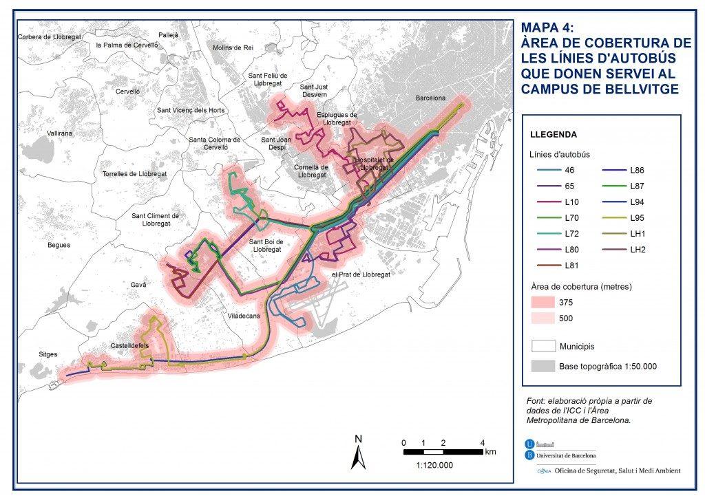 Mapa que mostra el àrea de cobertura de les línies d´autobús que donen servei al campus de Bellvitge