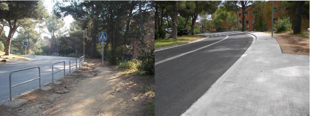 foto que mostra el abans i el després respecte a la millora en l´accesibilitat a peu