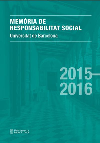 Portada Memòria responsabilitat social UB 2015-6