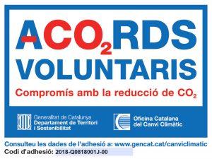 Etiqueta del Programa d'Acords Voluntaris de reducció de gasos d'afecte hivernacle atorgat a la UB