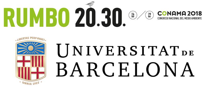 etiqueta representativa de conama 2018 congres nacional del medi ambient, juntament amb la universitat de barcelona