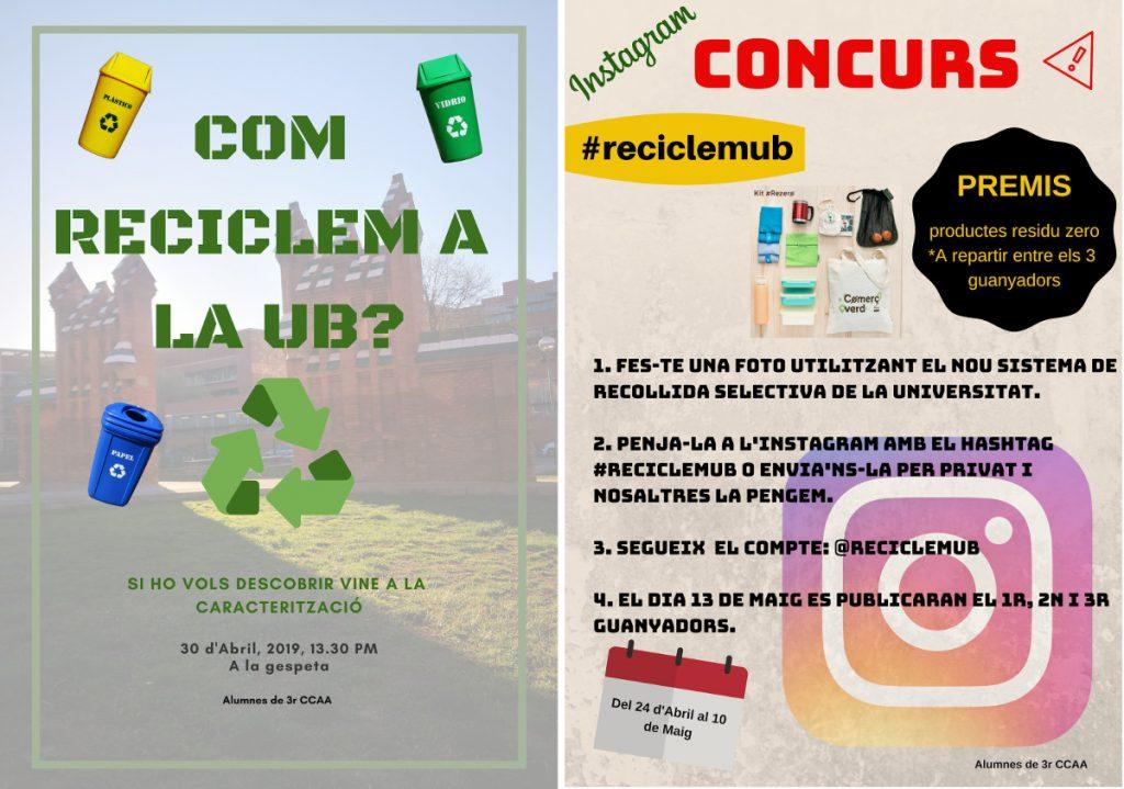 Cartells de les activitats de comunicació del grup de residus