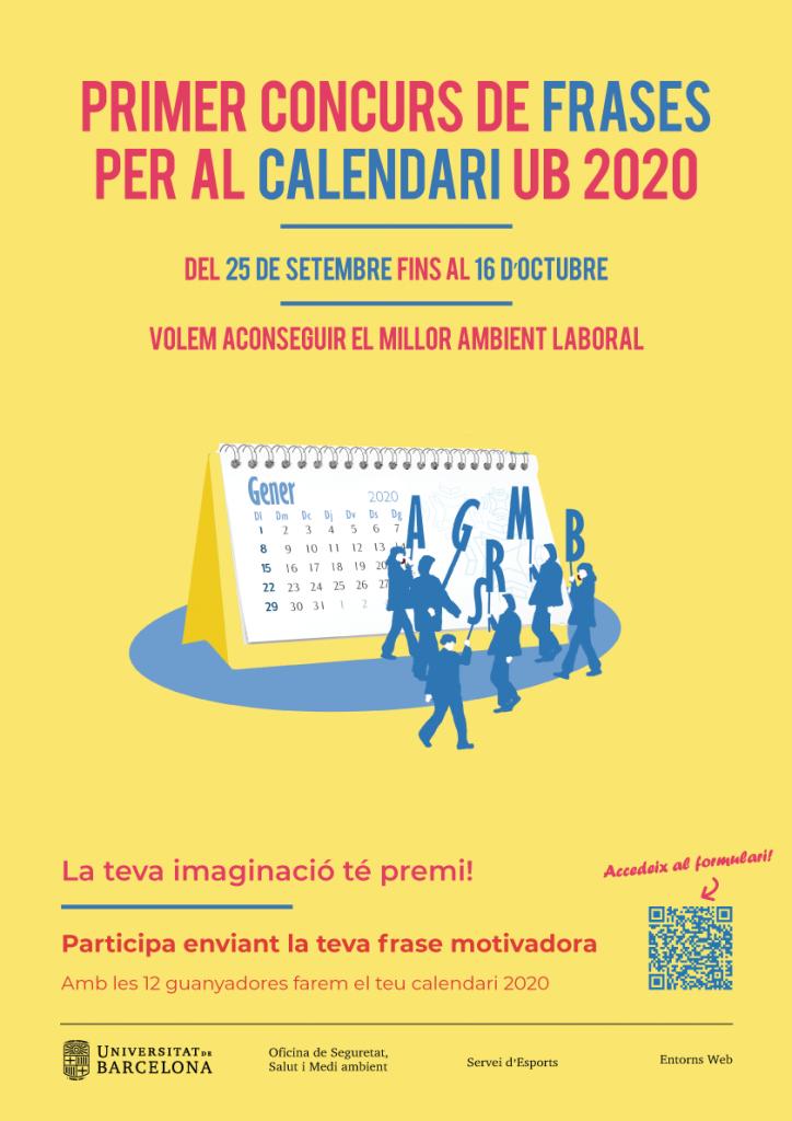 Cartell Concurs de frases Calendari UB 2020