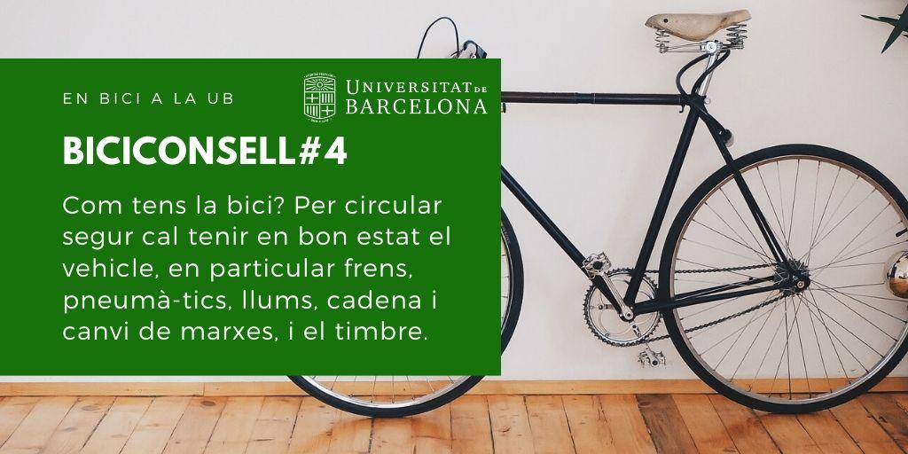 Com tens la bici? Per circular segur has de tenir en bon estat el teu vehicle, en particular frens, pneumàtics, llums, cadena i canvi de marxes, i el timbre.