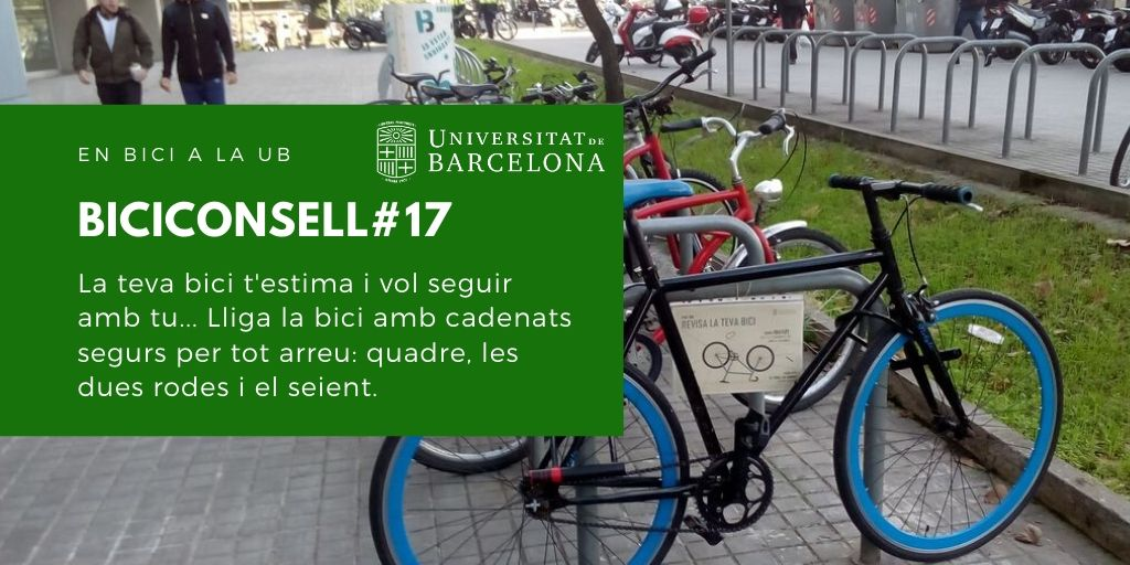 La teva bici t'estima i vol seguir amb tu... Lliga la bici amb cadenats segurs per tot arreu: quadre, les dues rodes i el seient.