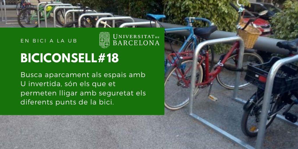 Busca aparcament als espais amb U invertida, són els que et permeten lligar amb seguretat els diferents punts de la bici.