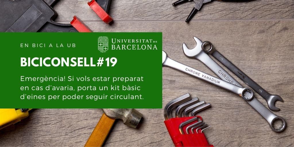 Emergència! Si vols estar preparat en cas d'avaria, porta un kit bàsic d'eines per poder seguir circulant.